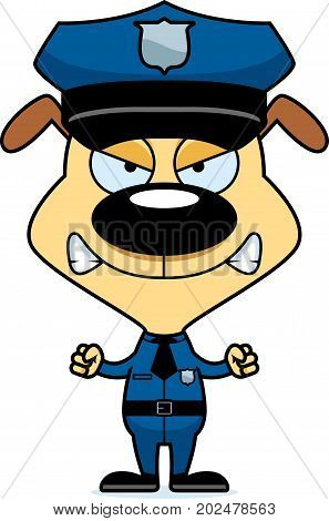 Cartoon Angry Police Officer Puppy
