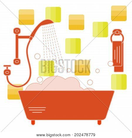 Cute Vector Illustration Of Variety Bathroom Elements: Shower, Bath With Foam, Soap Bubbles,  Towel