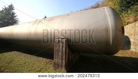 Huge Gas Storage Tanks In An Industrial Area.