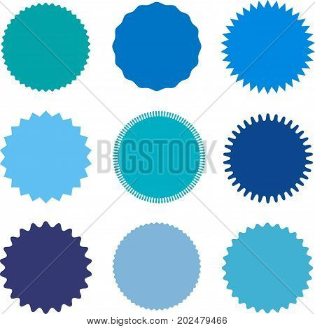 Set of starburst, sunburst badges, labels, stickers. Different shades of blue color. Simple flat style. Vintage, retro. Design elements. A collection of different types icon. Vector illustration
