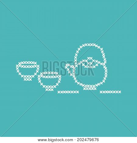 Cute Vector Illustration Cross Embroidery Of Teapot With Two Cups.