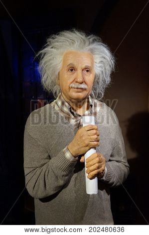 May 8. 2017 Museum of wax statues Grevin in the capital of the Czech Republic in Prague: Albert Einstein - Theoretical Physicist