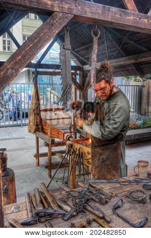 3.9.2016 Coronation festivities of the Czech Republic in Prague Commemoration of the Coronation of Charles IV. with a presentation of contemporary crafts on the picture to see the blacksmith working