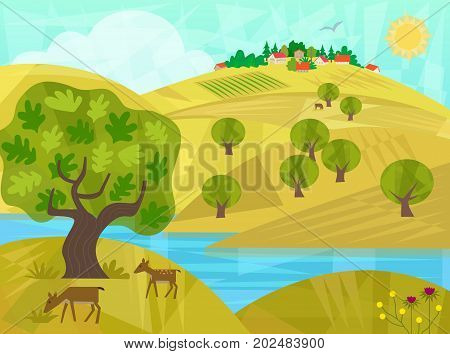 Rural landscape of a river with hills, trees, deer and houses. Eps10