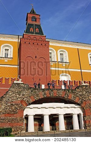 Moscow Russia - 14 July 2017: Middle Arsenalnaya Tower is a Kremlin tower built in 1495. In 1821 when the Alexander Garden was laid out an ancient-style grotto was built at the foot of the tower