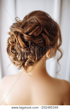 Rear View Of A Beautiful Wedding Hairstyle