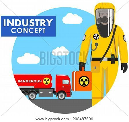 Detailed illustration of cistern truck carrying chemical radioactive toxic hazardous substances and worker in protective suit in flat style. Vector illustration.