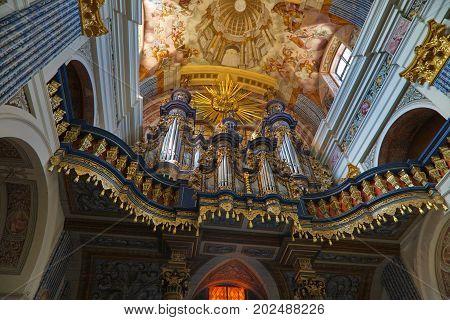 Swieta Lipka, Poland-JUNE 252008:Church baroque organs of Our Dear Lady Church, Warmian-Masurian Voivodeship,  Poland, Europe