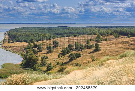 Gray Dunes's trail of Curonian Spit National Park in summer and view along Curonian Spit to soth Curonian Spit, Lithuania, Europe