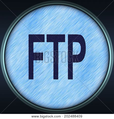 Decorative blue 3d illustration with text FTP (File Transfer Protocol)