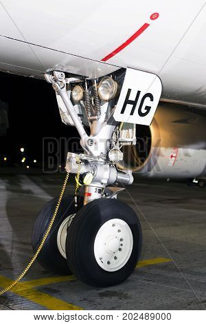 Borispol, Ukraine - August 28, 2017: Front landing gear of the Airbus A320-200. Editorial use only