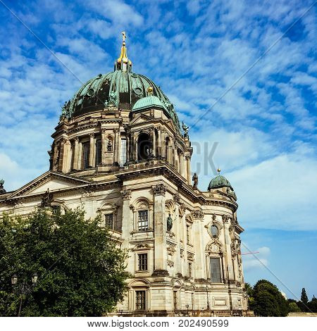 Berlin Cathedral (berliner Dom) At Famous Museumsinsel (museum Island) With Spree River In Beautiful
