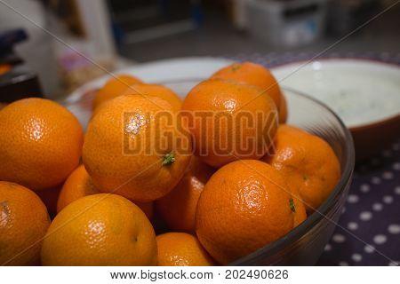 Mandarin or clementine tangerine oranges fruit close up