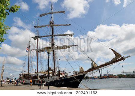 Copenhagen, Denmark - July 16 2013: On the waterfront of Copenhagen, the three-masted sailboat Atlantis