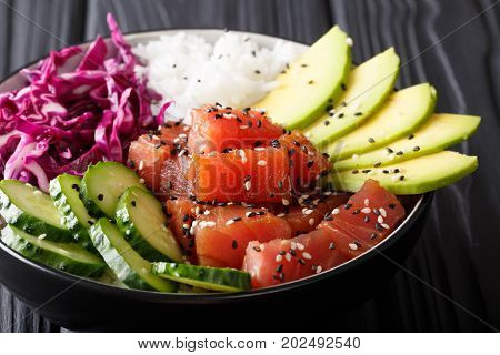 Raw Organic Ahi Tuna Poke Bowl With Rice And Veggies Close-up. Horizontal