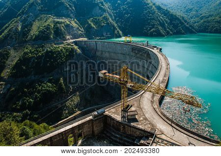 The Enguri Dam - a hydroelectric dam on the Enguri River in Georgia