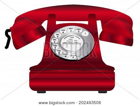 A large red old fashioned typical hot line telephone