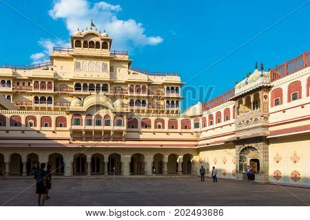 JAIPUR RAJASTHAN INDIA - MARCH 10 2016: Front picture of Chandra Mahal inside of City Palace in Jaipur known as pink city of Rajasthan in India.