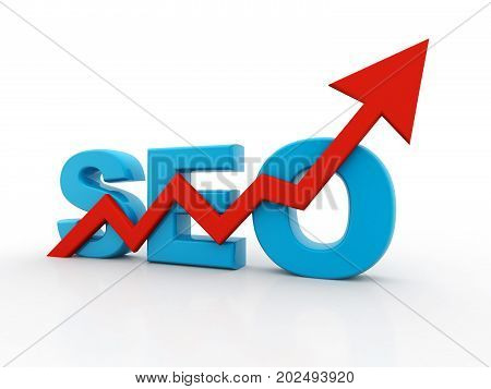 SEO - Search Engine Optimization is growing. 3D RENDERING