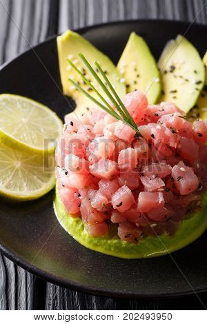 Tartar From Tuna Served With Avocado And Lime Macro. Vertical