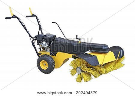 Yellow Sweeping Machine Isolated On White Background. Manual Sweeping Machine For Offices And Street