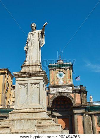 Statue Of Dante Alighieri In Naples. Campania, Italy.