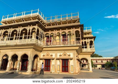 JAIPUR RAJASTHAN INDIA - MARCH 10 2016: Wide angle picture of Mubarak Mahal at City Palace in Jaipur known as pink city of Rajasthan in India.