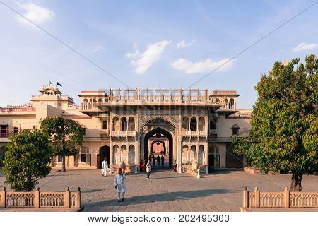 JAIPUR RAJASTHAN INDIA - MARCH 10 2016: Horizontal picture of the gate of City Palace in Jaipur known as pink city of Rajasthan in India.