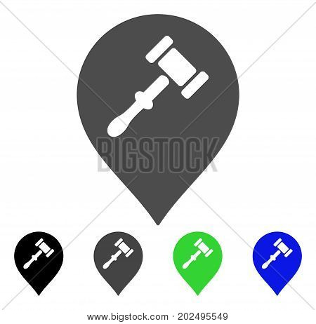 Auction Hammer Marker vector pictograph. Style is a flat graphic symbol in black, gray, blue, green color variants. Designed for web and mobile apps.