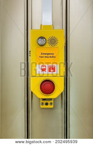 Emergency train stop button switch installed in the train and subway station used for stop the train in emergency case