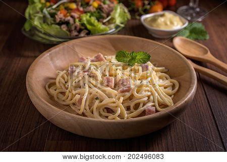 Spaghetti Carbonara On The Plate Spaghetti Concept