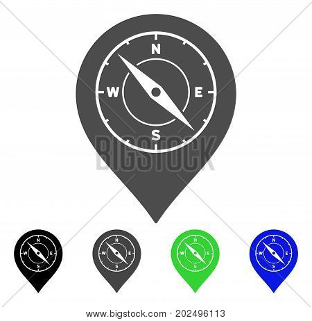 Compass Map Marker vector pictograph. Style is a flat graphic symbol in black, gray, blue, green color variants. Designed for web and mobile apps.