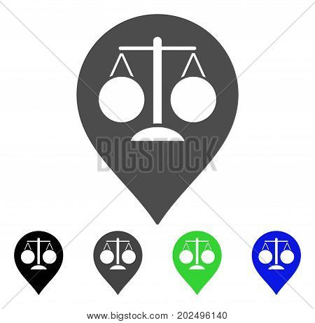 Court Map Marker vector pictogram. Style is a flat graphic symbol in black, gray, blue, green color variants. Designed for web and mobile apps.