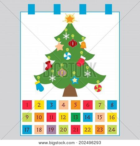 Christmas Advent Calendar: Christmas Tree With Decorations: Stars, Sock, Snowflakes, Mittens.