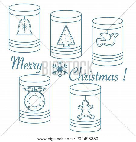 Jars With Christmas And New Year Tags: сhristmas Tree, Bell, Bird, сhristmas Wreath, Gingerbread Man
