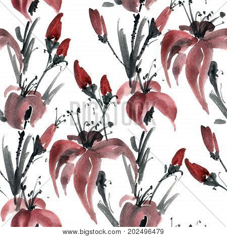 Watercolor and ink illustration of lily flowers. Sumi-e u-sin painting. Seamless pattern.