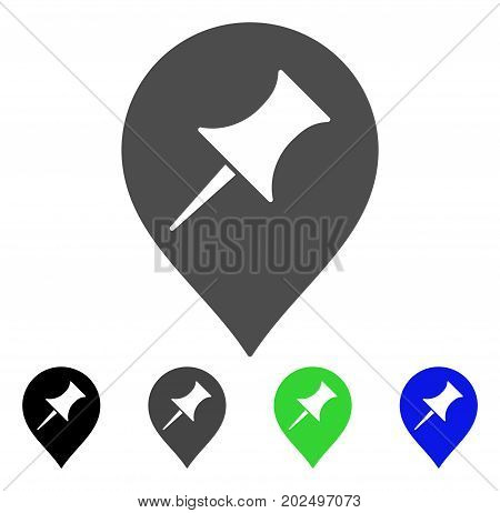 Interest Pin Marker vector icon. Style is a flat graphic symbol in black, grey, blue, green color variants. Designed for web and mobile apps.