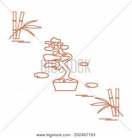 Stylized Icon Of Bonsai Tree And Bamboo.