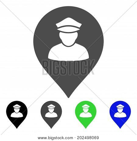 Policeman Map Marker vector pictograph. Style is a flat graphic symbol in black, gray, blue, green color versions. Designed for web and mobile apps.