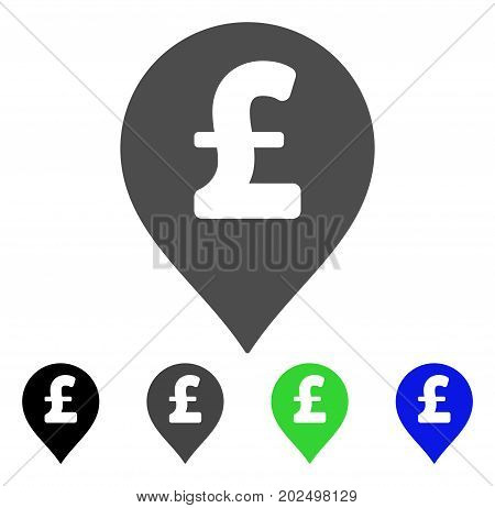 Pound Sterling Marker vector icon. Style is a flat graphic symbol in black, grey, blue, green color versions. Designed for web and mobile apps.