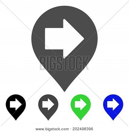Right Arrow Marker vector pictogram. Style is a flat graphic symbol in black, gray, blue, green color variants. Designed for web and mobile apps.