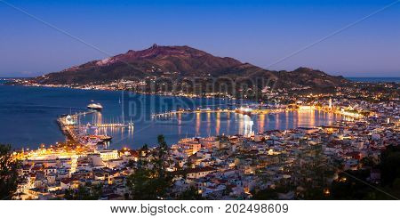 Panoramic Aerial Night View Of Zakynthos City In  Zante Island, In Greece