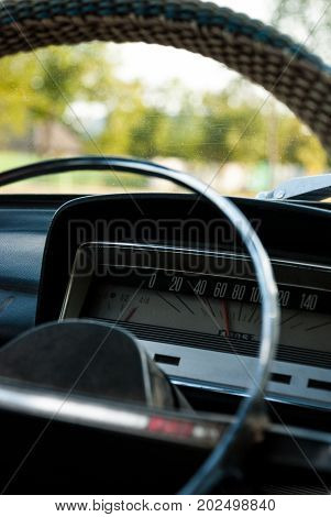 Inside an old Soviet car. Obsolete speedometer