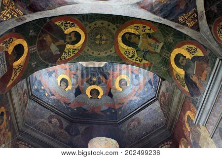KIEV, UKRAINE - MAY 3, 2011: This is an interior painting of the arch of Church of All Saints of the Kiev-Pechersk Lavra.
