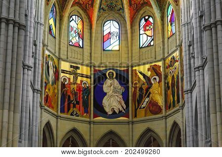 MADRID, SPAIN - MAY 24, 2017: This is an interior painted apse of the Cathedral of Santa Maria la Real de la Almudena.
