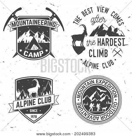 Set of mountain expedition badges. Vector. Concept for alpine club shirt or logo, print, stamp or tee. Vintage typography design with mountaineers and mountain silhouette. Outdoors adventure emblems.