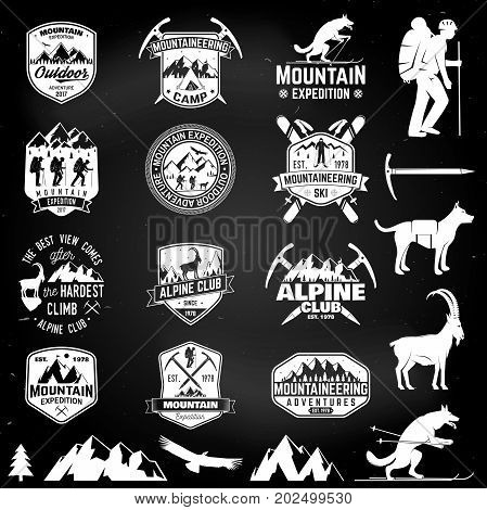 Set of mountain expedition badges with design elements on the chalkboard. Vector. Concept for alpine club shirt or logo, print, stamp or tee. Design with mountaineers and mountain silhouette.