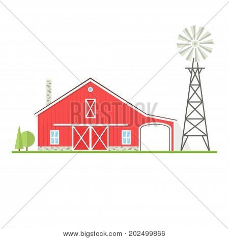 American farm icon in flat style. For web design and application interface, also useful for infographics. Vector illustration. Farm house with old wind mill or wind pump isolated on white background.