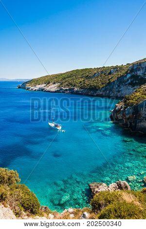 View Of  Agios Nikolaos Blue Caves  In Zakynthos (zante) Island, In Greece