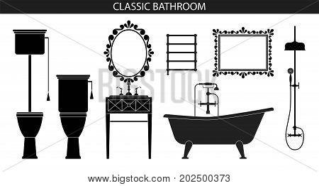 Classic old style furniture for the bathroom interior. Furniture set. Silhouette of furniture. Vector illustration. Bath, sink, toilet, mirror